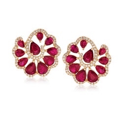 9.50 ct. t.w. Ruby and 1.05 ct. t.w. Diamond Earrings in 18kt Yellow Gold, , default