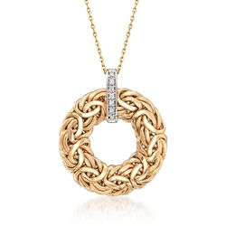 14kt Yellow Gold Byzantine Open Circle Pendant Necklace With Diamond Accents, , default