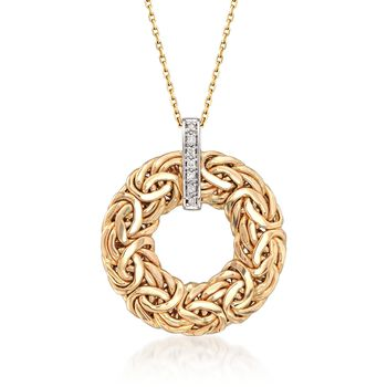 "14kt Yellow Gold Byzantine Open Circle Pendant Necklace With Diamond Accents. 18"", , default"