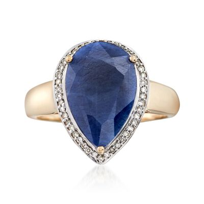 5.50 Carat Sapphire and . 13 ct. t.w. Diamond Ring in 14kt Yellow Gold
