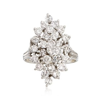 C. 1970 Vintage 2.00 ct. t.w. Diamond Cluster Ring in 14kt White Gold. Size 7.25, , default