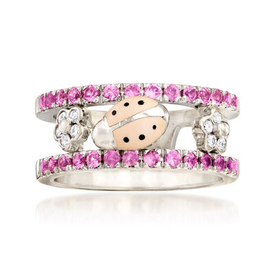 C. 1990 Vintage AAron Basha .80 ct. t.w. Pink Sapphire and .15 ct. t.w. Diamond Ladybug Ring in 18kt White Gold