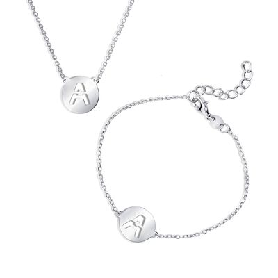 Sterling Silver Jewelry Set: Cutout Initial Necklace and Bracelet, , default