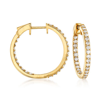 1.00 ct. t.w. Diamond Inside-Outside Hoop Earrings in 14kt Yellow Gold