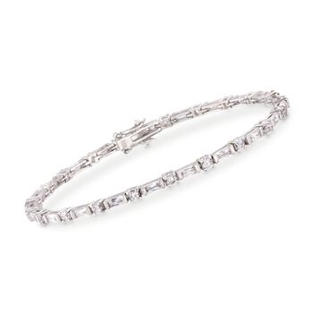 "3.07 ct. t.w. Bageutte and Round CZ Bracelet in Sterling Silver. 7.5"", , default"