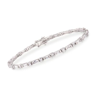 3.07 ct. t.w. Bageutte and Round CZ Bracelet in Sterling Silver, , default