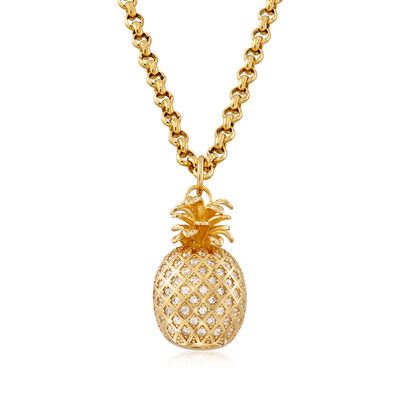 Italian 2.30 ct. t.w. CZ Pineapple Pendant Necklace in 18kt Gold Over Sterling, , default