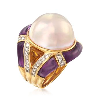 C. 1980 Vintage 18mm Mabe Pearl and Carved Multi-Stone Ring with .75 ct. t.w. Diamonds in 18kt Gold. Size 4.5, , default