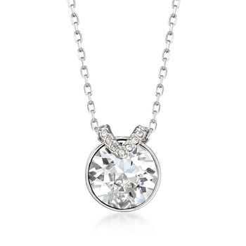 """Swarovski Crystal """"Bella"""" Round Crystal Necklace in Silvertone. 15"""" , , default"""