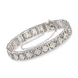C. 1950 Vintage .50 ct. t.w. Diamond Filigree Square Bracelet in 14kt White Gold, , default