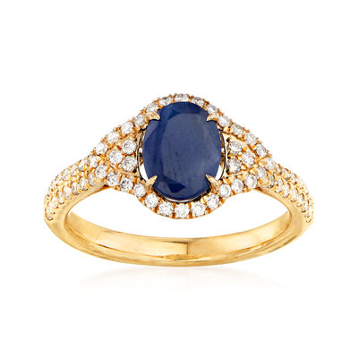 1.90 Carat Sapphire and .40 ct. t.w. Diamond Ring in 14kt Yellow Gold