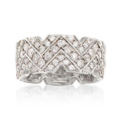 2.20 ct. t.w. Diamond Chevron Eternity Ring in 14kt White Gold, , default