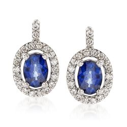 2.00 ct. t.w. Sapphire and .49 ct. t.w. Diamond Drop Earrings in 14kt White Gold , , default