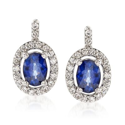 2.00 ct. t.w. Sapphire and .49 ct. t.w. Diamond Drop Earrings in 14kt White Gold, , default
