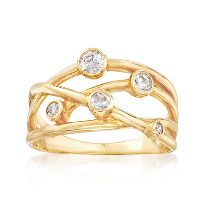 .25 ct. t.w. CZ Crisscross Ring in 14kt Yellow Gold, , default