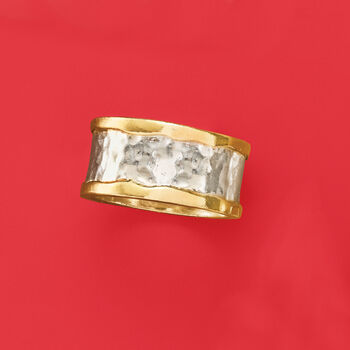 Sterling Silver and 14kt Yellow Gold Hammered Ring, , default