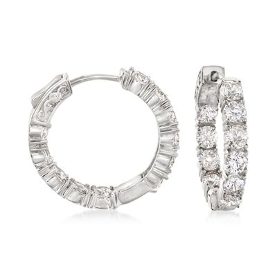 5.00 ct. t.w. CZ Inside-Outside Hoop Earrings in Sterling Silver