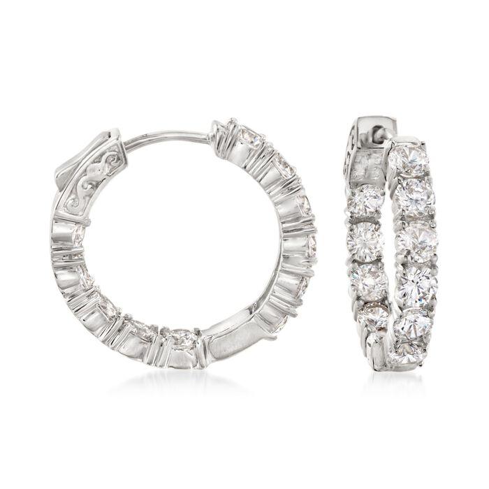 """5.00 ct. t.w. CZ Inside-Outside Hoop Earrings in Sterling Silver. 7/8"""""""