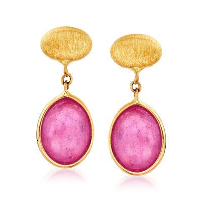 Italian 3.00 ct. t.w. Ruby Drop Earrings in 14kt Yellow Gold