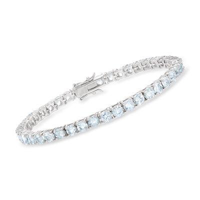 9.00 ct. t.w. Aquamarine Tennis Bracelet in Sterling Silver, , default