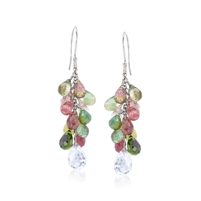 25.00 ct. t.w. Multicolored Tourmaline and 4.00 ct. t.w. Rock Crystal Drop Earrings in Sterling Silver