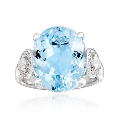 9.00 Carat Aquamarine and .41 ct. t.w. Diamond Ring in 14kt White Gold, , default