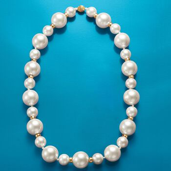 12-18mm Shell Pearl Necklace With 14kt Yellow Gold, , default
