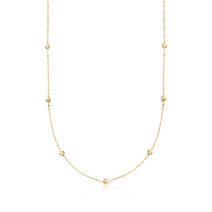 2mm 14kt Yellow Gold Bead Station Necklace, , default