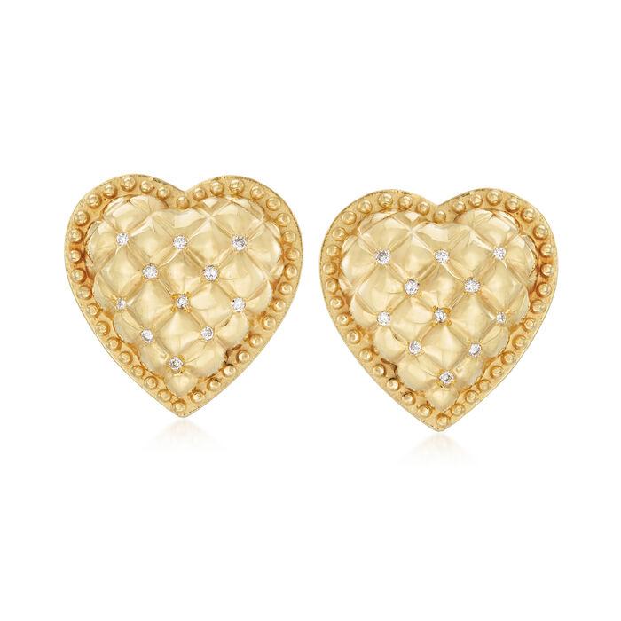 C. 1990 .25 ct. t.w. Diamond Heart Earrings in 18kt Yellow Gold