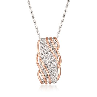 Simon G. 1.10 ct. t.w. Diamond Twist Necklace in 18kt Two-Tone Gold
