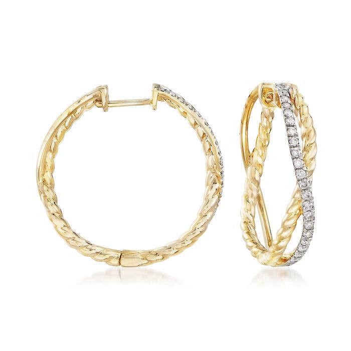 """.50 ct. t.w. Diamond Twisted Hoop Earrings in 14kt Yellow Gold. 1"""""""