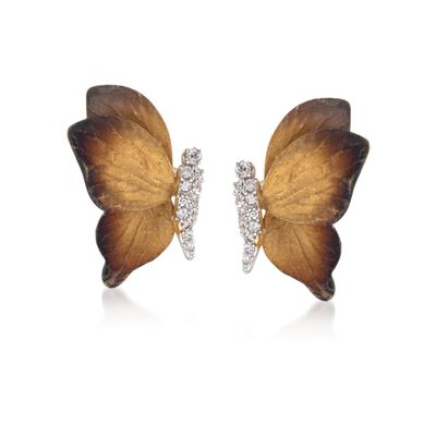 Simon G. .18 ct. t.w. Diamond Butterfly Earrings in 18kt Two-Tone Gold