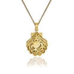 "14kt Yellow Gold Turtle Pendant Necklace. 18"", , default"