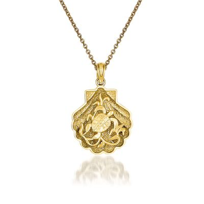14kt Yellow Gold Turtle Pendant Necklace, , default