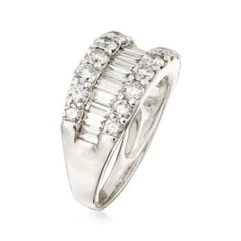 C. 1990 Vintage 2.00 ct. t.w. Brilliant and Baguette-Cut Diamond Ring in Platinum. Size 6.5