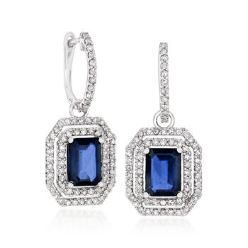 3.90 ct. t.w. Sapphire and 1.00 ct. t.w. Diamond Drop Earrings in 14kt White Gold