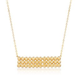 """14kt Yellow Gold Beaded Bar Necklace. 20"""", , default"""