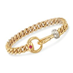 "Italian 18kt Yellow Gold Curb-Link Bracelet With Horsebit Clasp and Ruby Accent. 7.25"", , default"