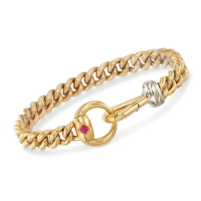 Italian 18kt Yellow Gold Curb-Link Bracelet With Horsebit Clasp and Ruby Accent, , default