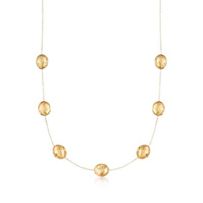 28.00 ct. t.w. Citrine Station Necklace in 14kt Yellow Gold, , default