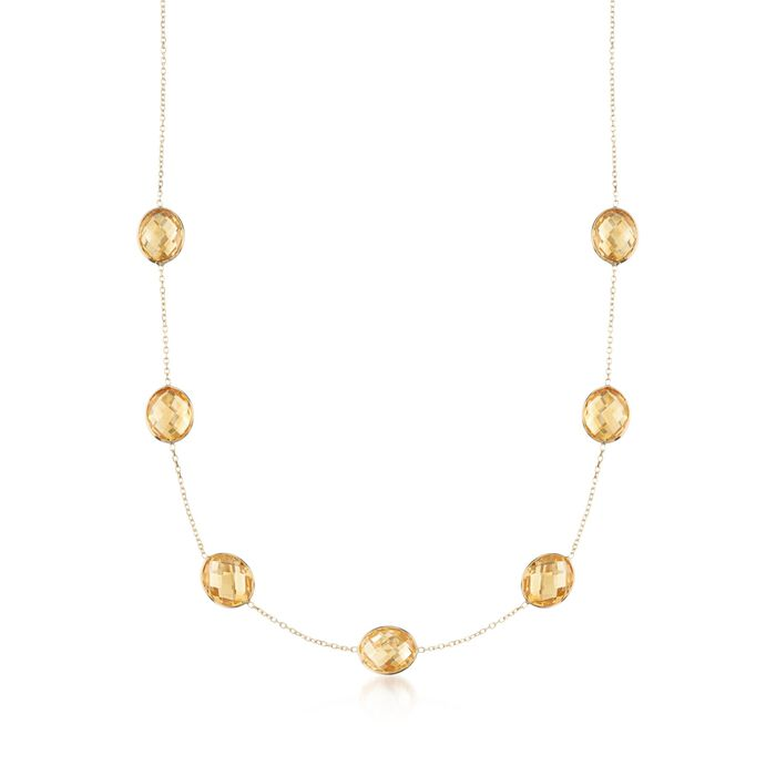 """28.00 ct. t.w. Citrine Station Necklace in 14kt Yellow Gold. 18"""", , default"""