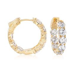 "7.00 ct. t.w. CZ Inside-Outside Hoop Earrings in 14kt Gold Over Sterling. 7/8"", , default"