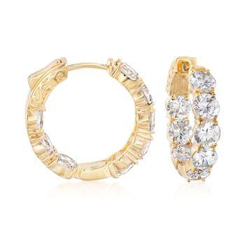 """7.00 ct. t.w. CZ Inside-Outside Hoop Earrings in 14kt Gold Over Sterling. 7/8"""", , default"""
