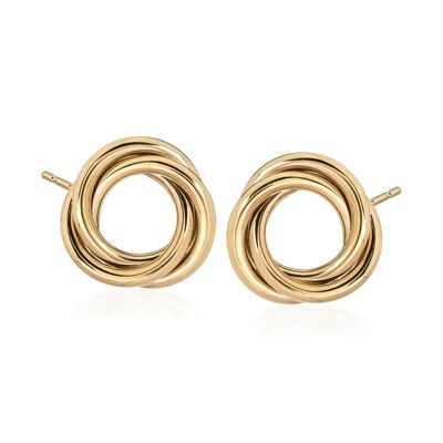 14kt Yellow Gold Open Knot Earrings, , default