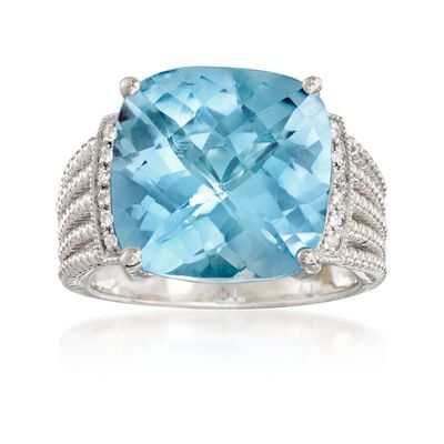 13.00 Carat Blue Topaz Ring with Diamond Accents in Sterling Silver, , default