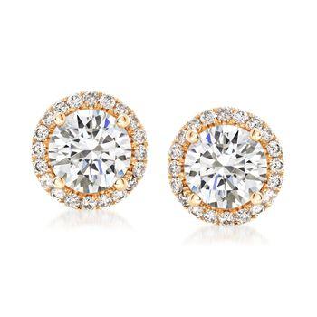 1.75 ct. t.w. Diamond Halo Stud Earrings in 14kt Yellow Gold, , default