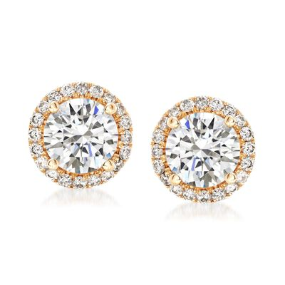 1.75 ct. t.w. Diamond Halo Stud Earrings in 14kt Yellow Gold, , default
