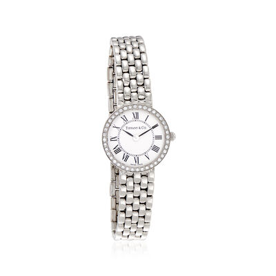 C. 1990 Vintage Tiffany Jewelry Women's 22mm 14kt White Gold Watch, , default