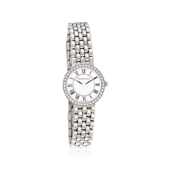 C. 1990 Vintage Tiffany Jewelry Women's 22mm 14kt White Gold Watch. Size 7, , default