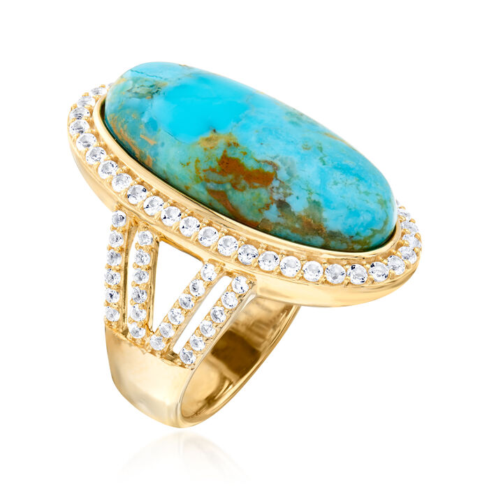 Mosaic Kingman Turquoise and 1.30 ct. t.w. White Topaz Ring in 18kt Gold Over Sterling